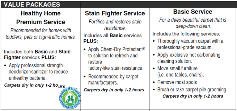 Carpet Cleaning Packages.