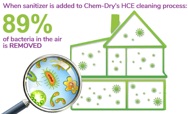 89% of harmful bacteria is removed from the air by Chem-Dry