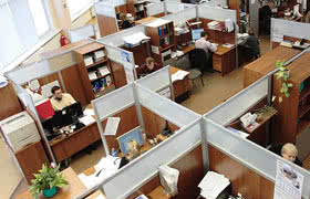 office setting with cubicles